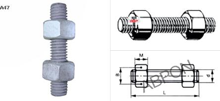 เกลียวตลอดเหล็ก ASTM A193 - B7 + 2หัวน๊อต ASTM A194 - 2H(H.D.G.)